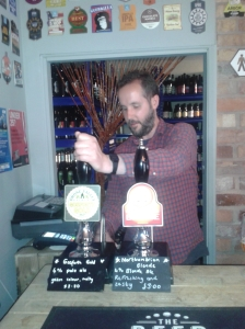 Matt serves up Gosforth Gold at the Beer Stop